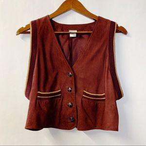 Vintage Retro Krizia Maroon Italian Sheepskin Vest